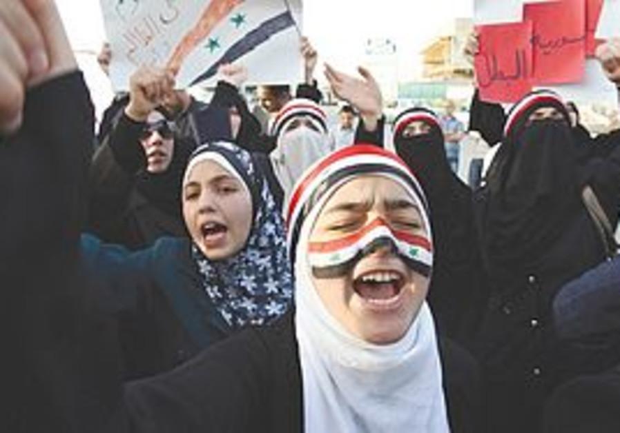 Syrians shout slogans