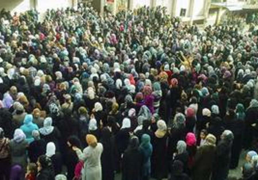 All-woman crowd gathers in Banias to protest
