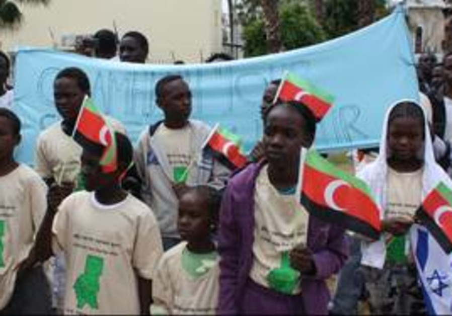 Protesters for Darfur gather in Levinsky Park