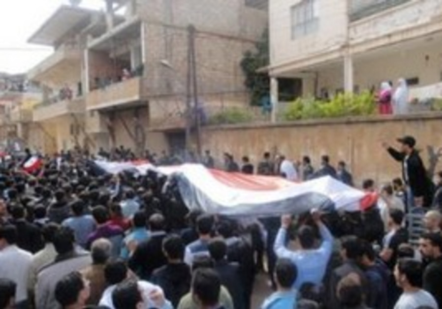 Protesters hold a Syrian flag during a demo