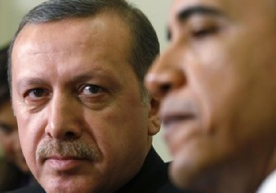 Obama meets with Erdogan in Washington, Dec 2009.