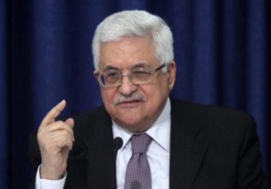 Mahmoud Abbas at the Muqata, Ramallah, Thurs.