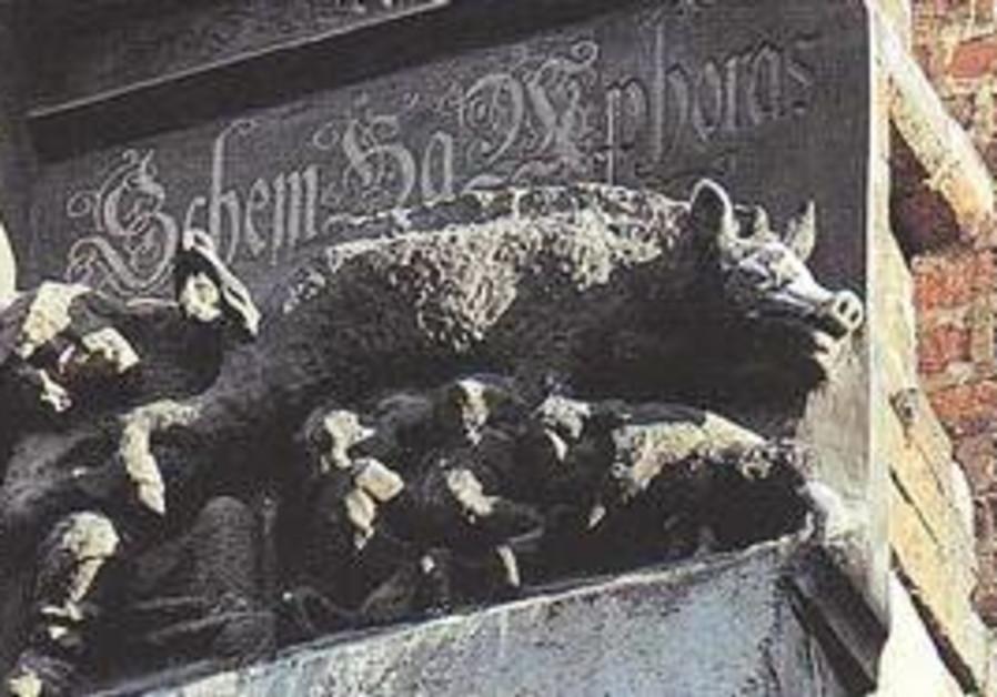 Wittenberg Church, rabbi peering into sow's anus