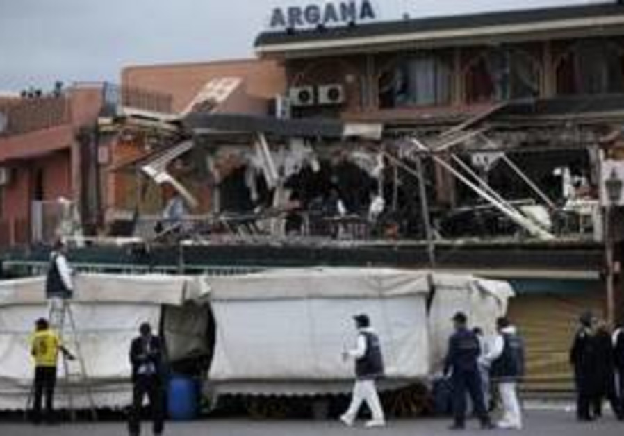 Scene of Moroccan cafe bombing