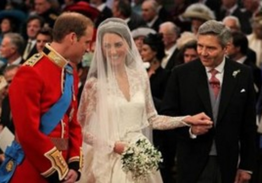 Prince William at the alter with his bride Kate.
