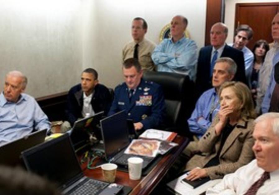 Situation Room watches update on bin Laden raid.