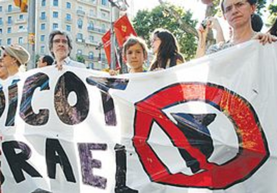 An Israel boycott protest in Barcelona