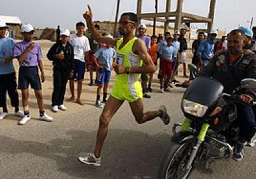 Palestinian runner Nader al-Masri in Gaza Marathon