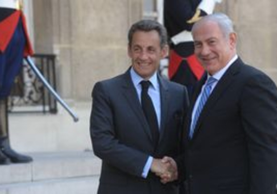 PM Netanyahu with French President Sarkozy [file]