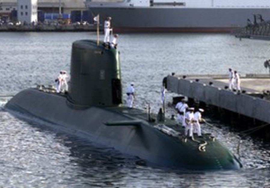 A Dolphin-class submarine docks in Haifa port.