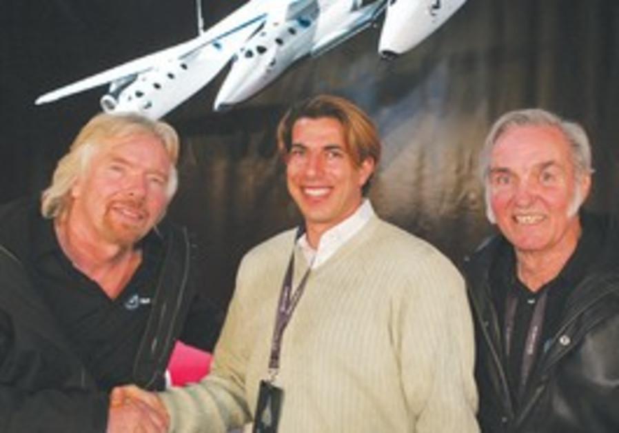 CEO Eliron Yaron with Branson (L), Rutan (R)