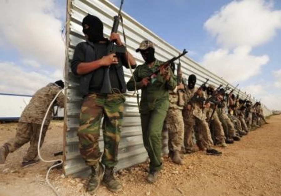 Rebel fighters take part in a training session