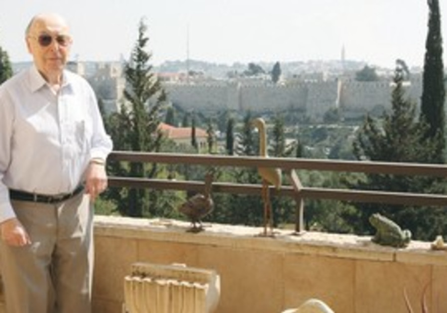Fred Worms on the patio of his home in Jerusalem
