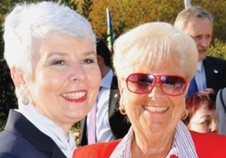 BARBARA GOLDSTEIN (in red) with Jadranka Kosor