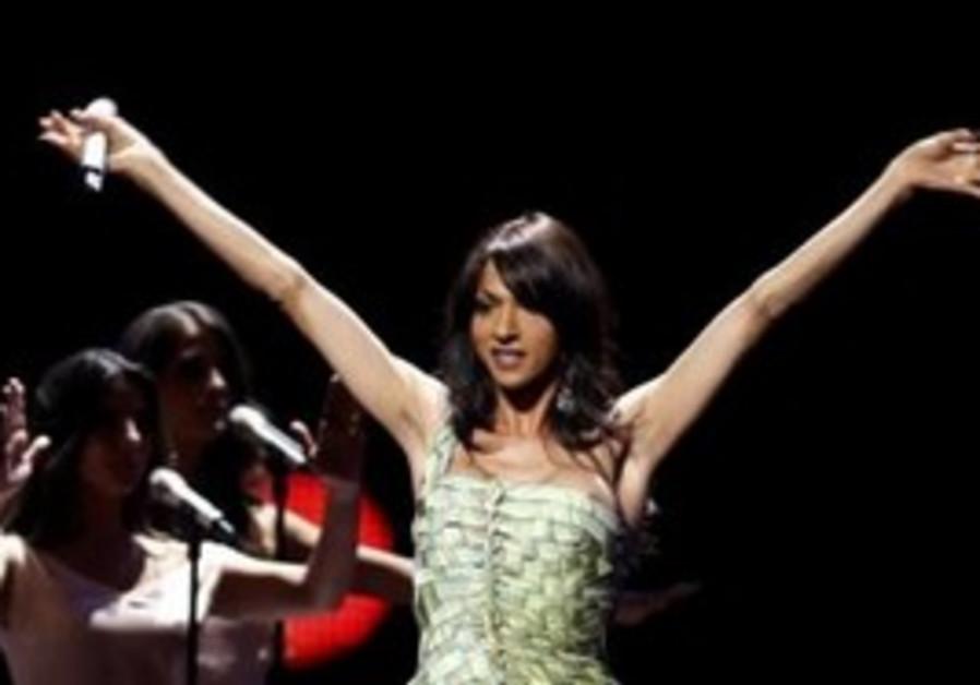 Dana International sings at Eurovision semi-final.