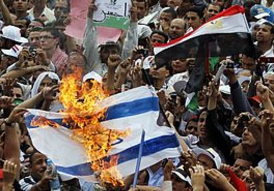 Protesters in Tahrir Square burn an Israeli flag