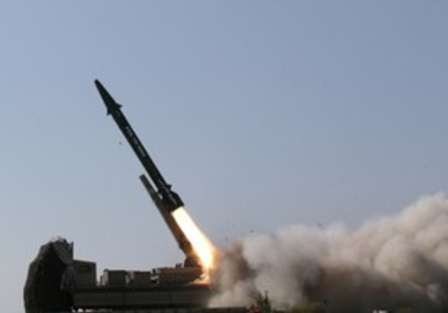 Iranian ballisitic missile launched at war game.