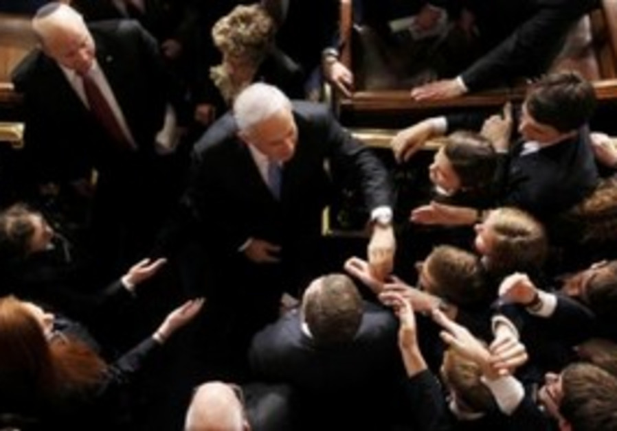 US Congresspeople shake hands with Netanyahu