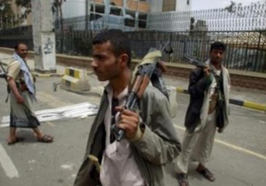 Tribesmen loyal to Sadiq al-Ahmar in Yemen
