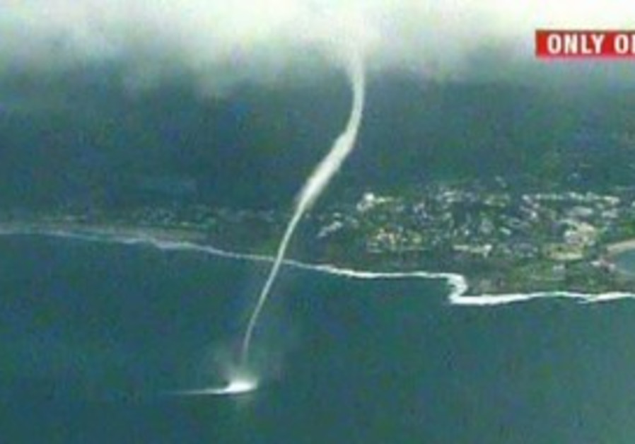 Waterspout spotted off the Australian coast, Mon.