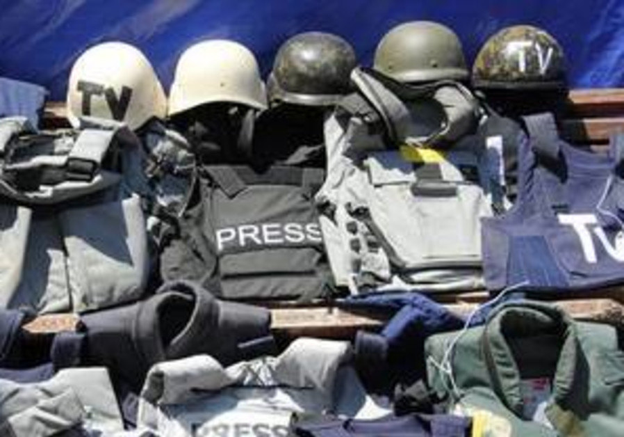 Confiscated bulletproof vests and helmets