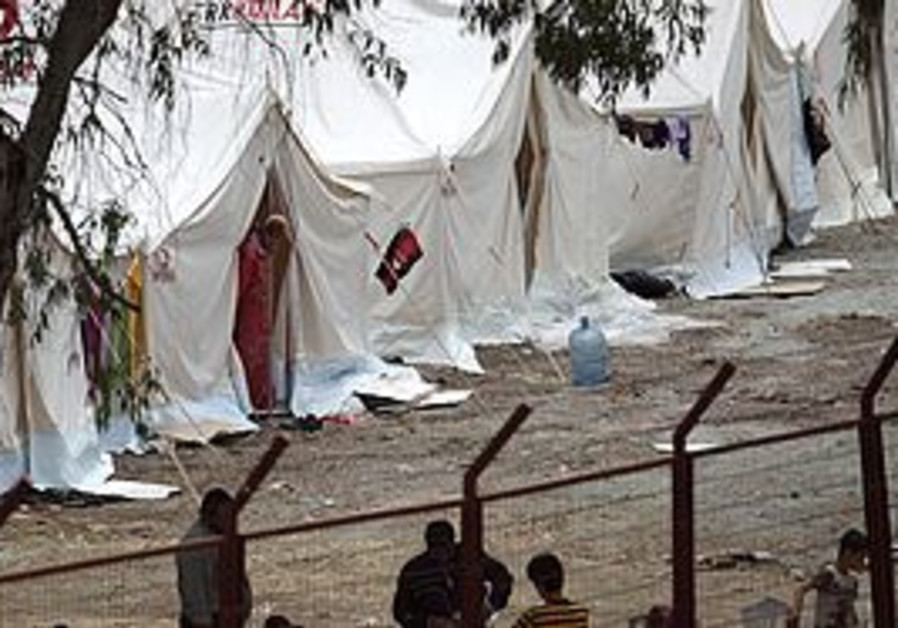 A syrian refugee camp on the Turkish border