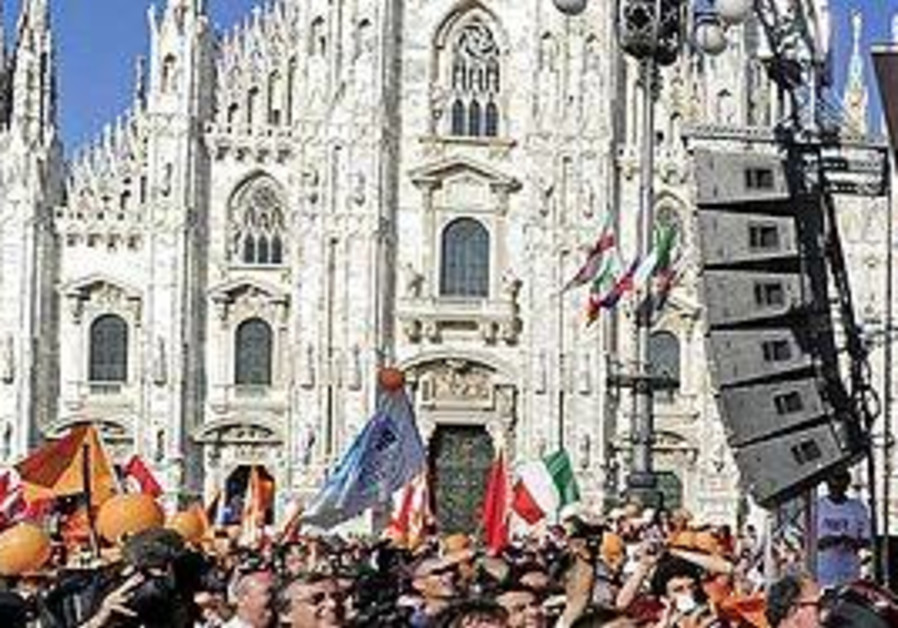 Rally at Milan's Duomo Square