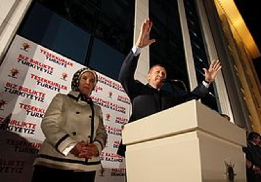 Erdogan and wife Emine greet supporters