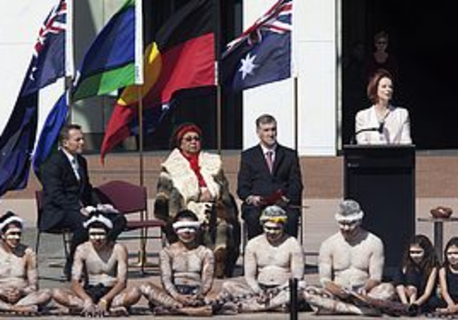 Indigenous Australians at a ceremony