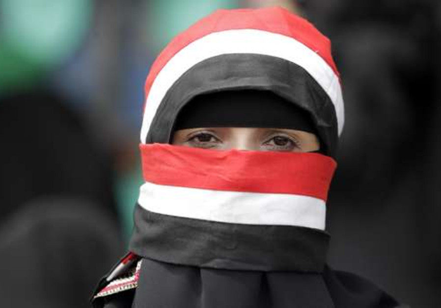 A woman anti goverment protester in Yemen