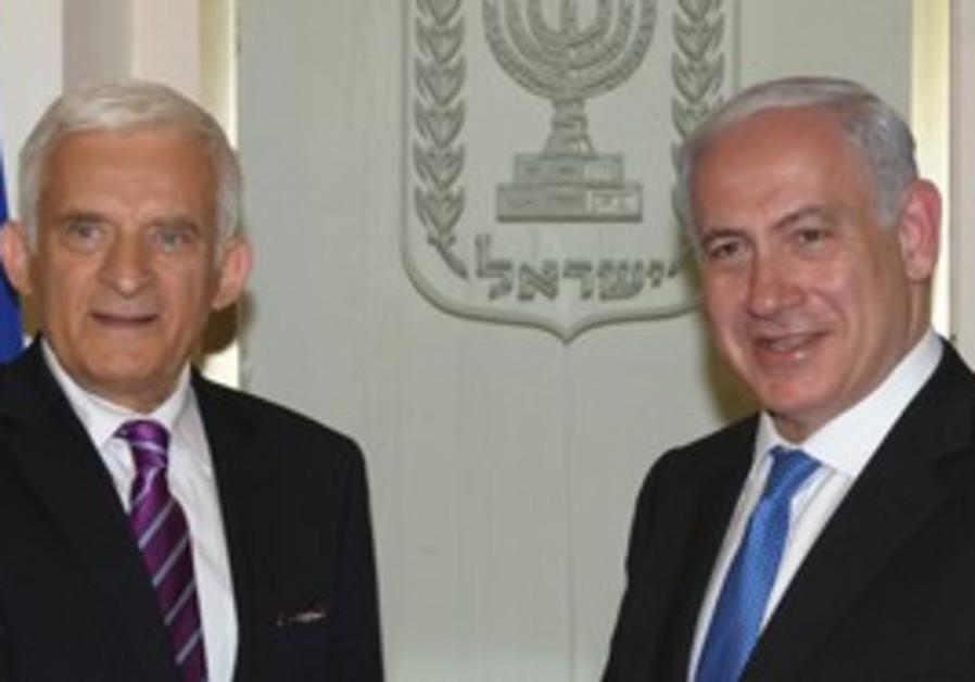 EU Parliament President Jerzy Buzek and Netanyahu.