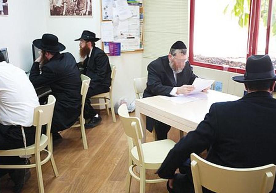 Haredi men at a JDC employment center.