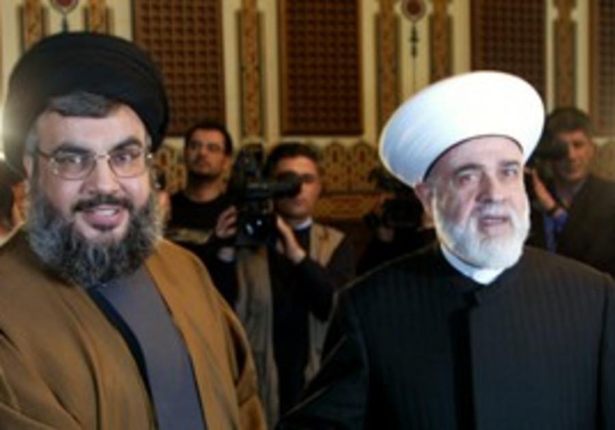 Hassan Nasrallah, left, Sheikh Qabbani, right