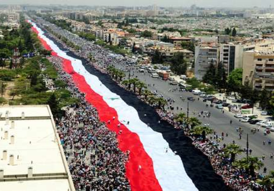 Syrian unity flag demonstration
