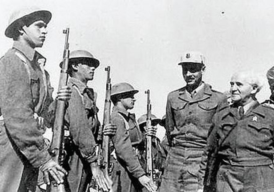 PM Ben-Gurion with troops from the Carmeli Brigade