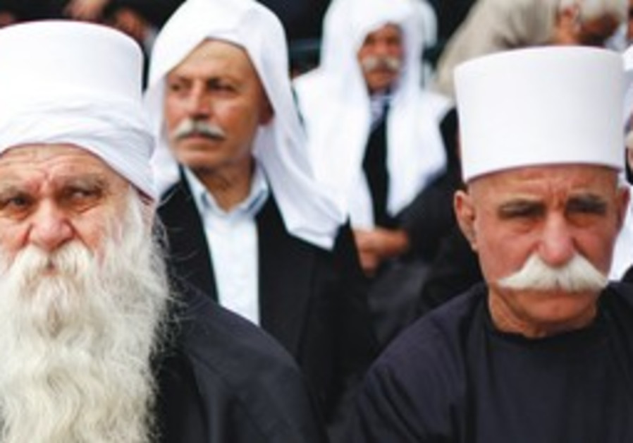 Druse men gather to mark Syria's independence from