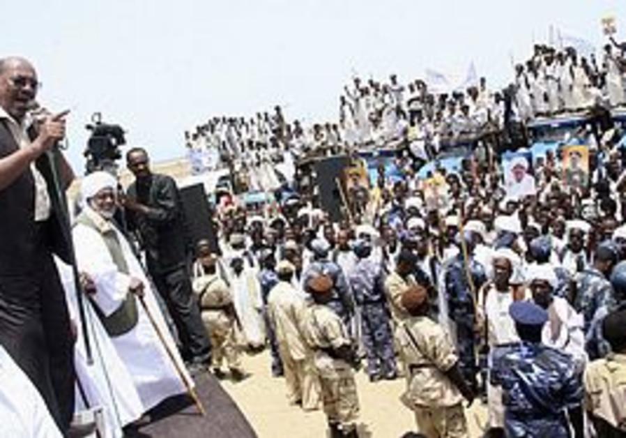Sudan's President Bashir speaks to supporters