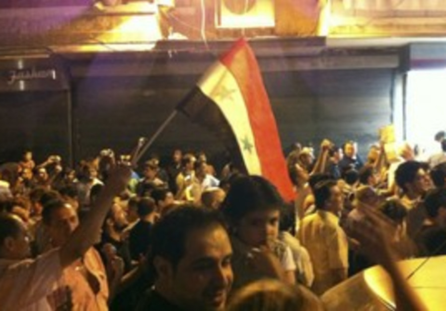 Anti-Assad protesters demonstrate in Aleppo, Thurs