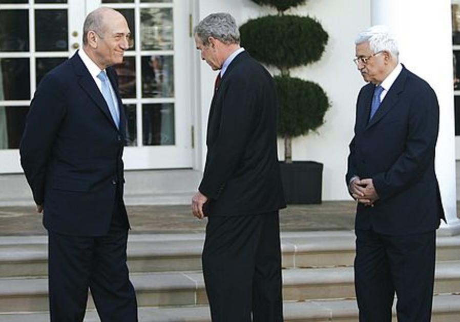 Abbas Bush and Olmert [file]