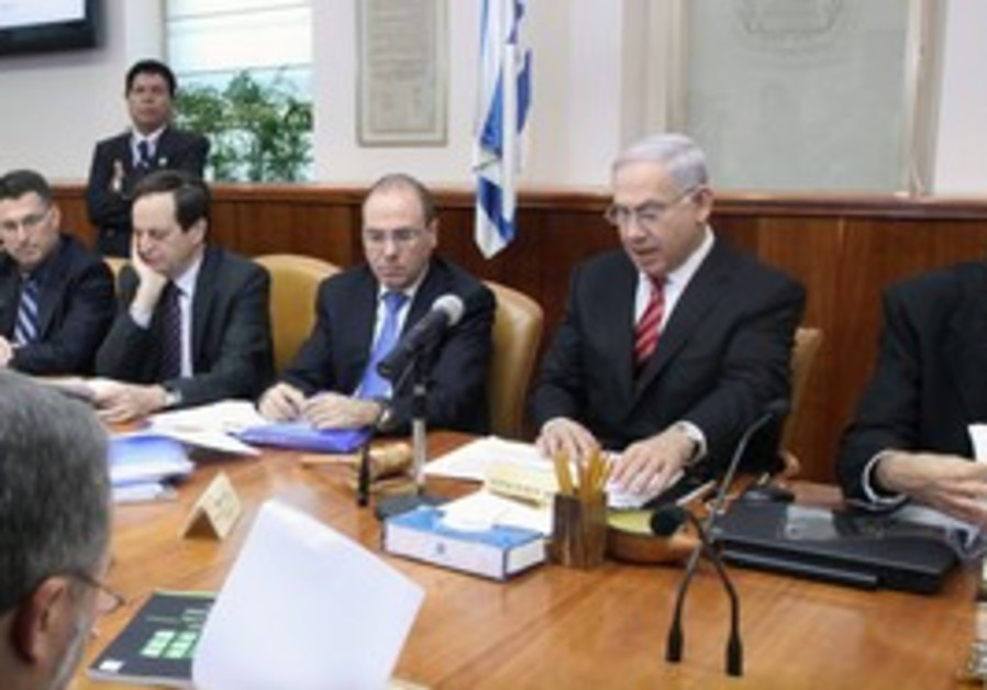 Netanyahu speaking at the cabinet meeting, Sunday.