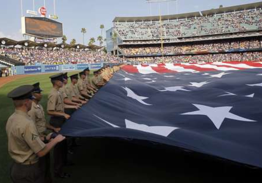 4th of July pre-game ceremonies at baseball game