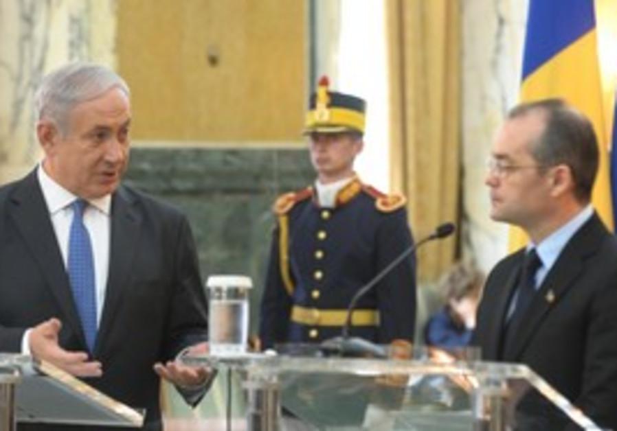 Netanyhau meets Romanian PM Emil Boc in Bucharest