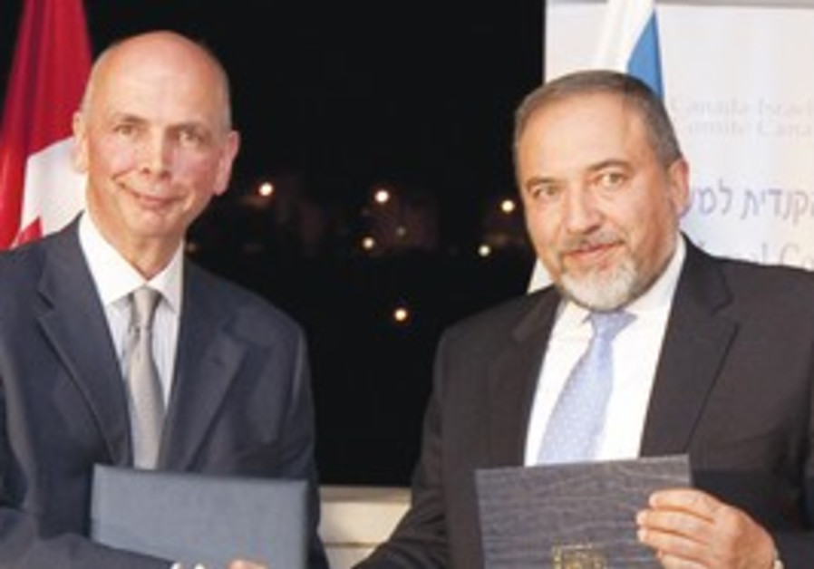 FM Lieberman and Canadian Ambassador Paul Hunt