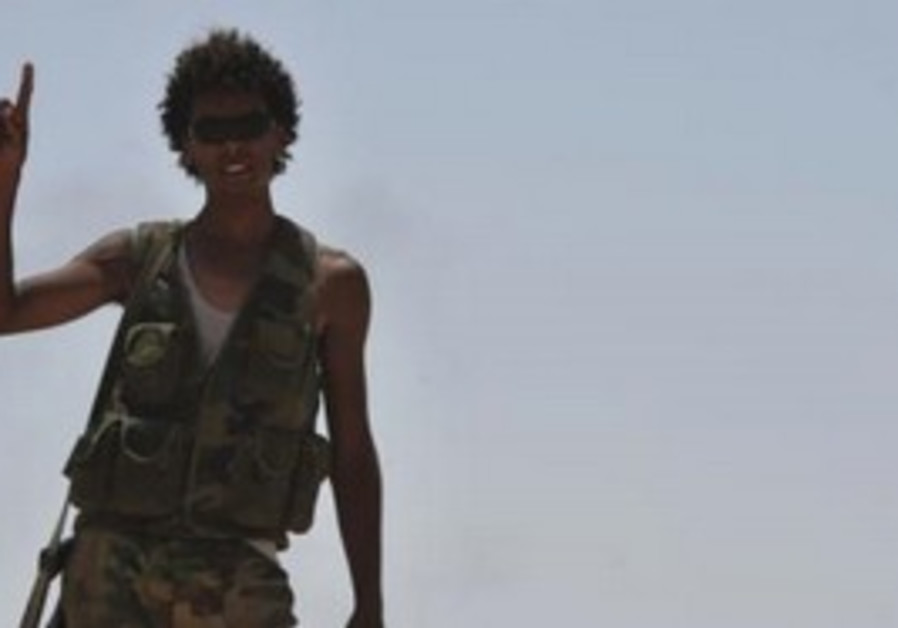 Libyan rebel on the front lines