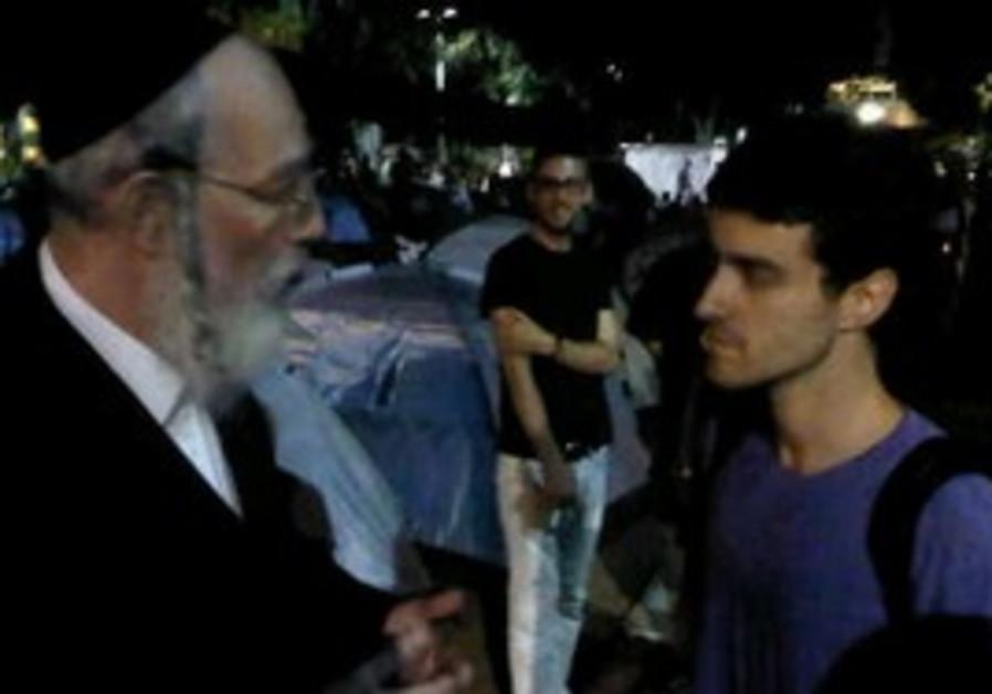 UTJ MK Yisrael Eichler visits TA housing protest