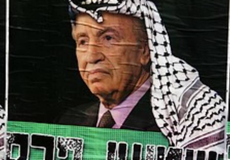 Peres dressed in Kaffiyeh in far- right posters