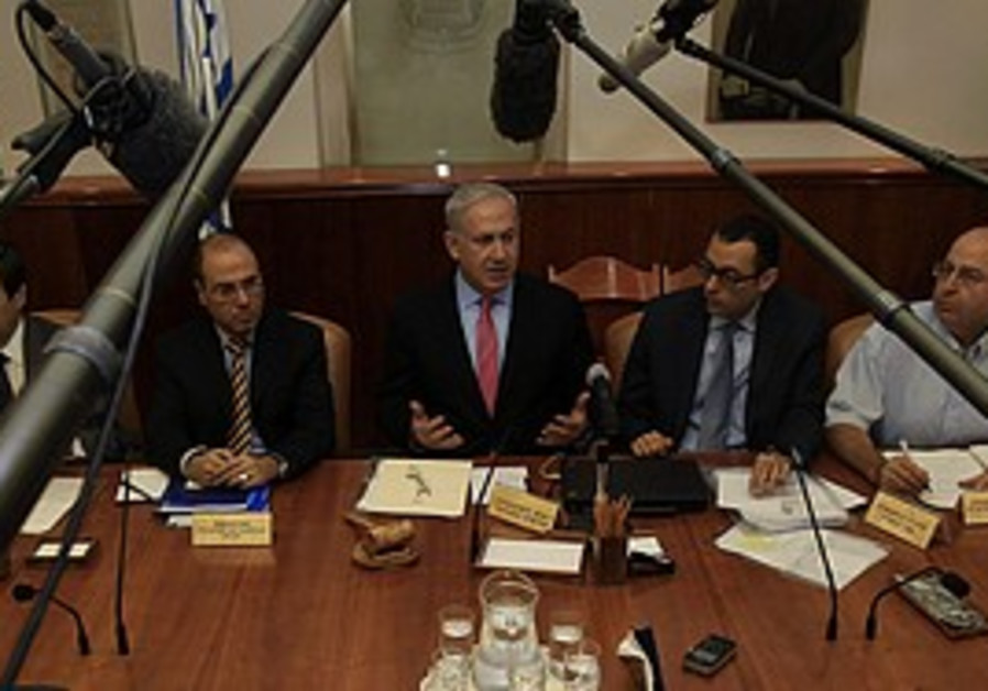 Netanyahu at the weekly cabinet meeting