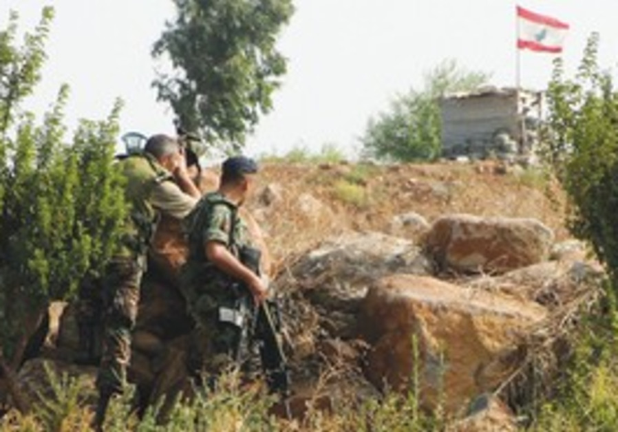 Lebanese soldiers patrol the border with Israel