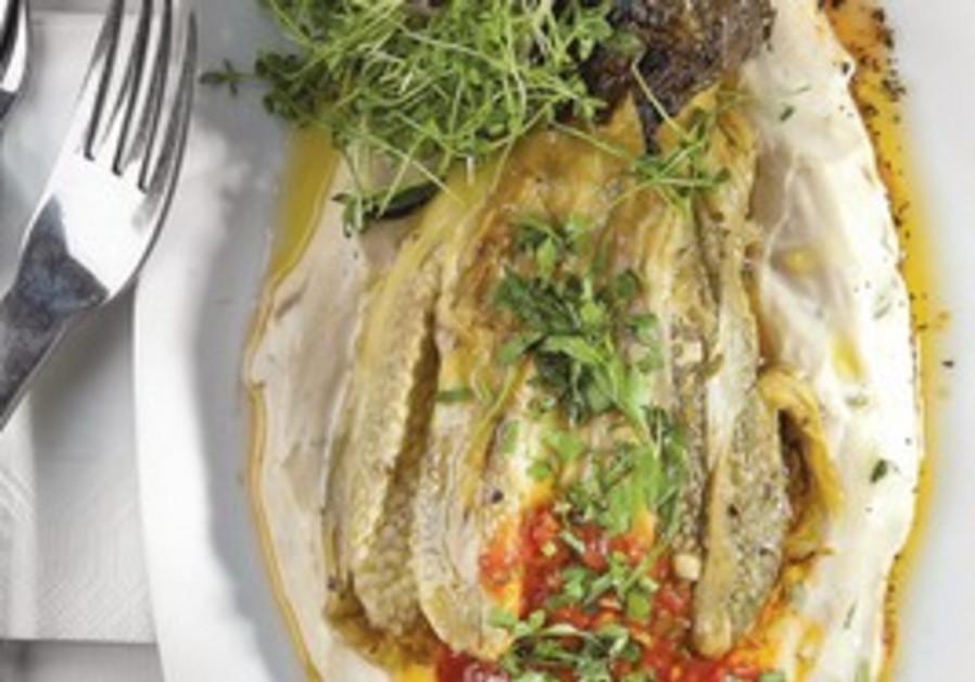Grilled eggplant on tehina sauce.
