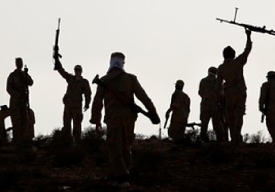 Libyan rebels during training exercise